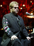 Elton John in Concert on His World Tour for His First Night in the UK at Wembley Arena Photographic Print
