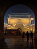 Floodlit Gate on Tiananmen Square Viewed Through an Arch Photographic Print by Richard Nowitz