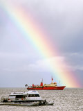 Rainbow Over Ships in Beagle Channel, Ushuaia, Argentina Photographic Print by Michael Taylor