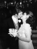 Roger Moore and Bride Luisa at Wedding Reception, Royal Garden Hotel London Photographic Print