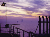 A View Toward Another Platform from an Oil and Gas Drilling Platform Photographic Print