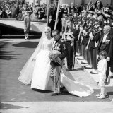 Prince Rainier of Monaco and Grace Kelly Leaving the Church after Their Wedding, April 1956 Photographic Print