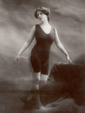 "Edwardian Bathing Beauty Miss M. Odell Wears a ""V""-Neck One-Piece Bathing Costume Photographic Print"