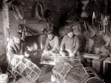 Lobstermen Repair Their Pots in Their Shanty at the West End of Bridlington Harbour, June 1936 Photographie