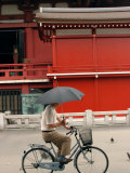 Bike Rider, Senso-Ji Temple, Asakusa, Tokyo, Japan Photographic Print by Greg Elms