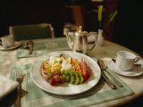 A Fruit Plate of Pineapple, Kiwi, Papaya, Grapes, Apple, and Watermelon Photographic Print