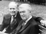 Henry Fonda Sitting with James Stewart on Bench in a London Park, August 1975 Photographic Print