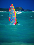 Windsurfer on the Shores of Kailua Beach, Kailua, U.S.A. Photographic Print by Ann Cecil