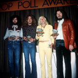 Led Zeppelin Musicians the Group with Jimmy Savile at the Melody Maker Awards Fotografisk tryk