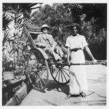European Gentleman in a Solar Topee is About to be Taken in a Rickshaw in Ceylon Photographic Print