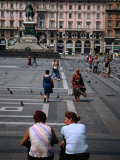 Two Women Chatting on Piazza Del Duomo, Milan, Italy Photographic Print by Martin Moos