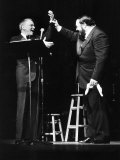 Frank Sinatra at a New York Concert Being Declared by Luciano Pavarotti Photographic Print