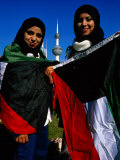 Girls with Kuwaiti Flags to Greet Amir of Kuwait, Kuwait Photographic Print by Mark Daffey