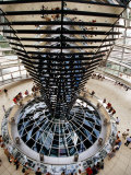 Overhead of Spiral Ramp and Mirrored Construction in Reichstag, Berlin, Germany Photographic Print by Martin Moos