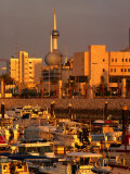 Boats in Sharq Marina with Kuwait Towers in Background, Kuwait Photographic Print by Mark Daffey