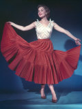 She Holds out Her Red Full Circle Skirt Photographic Print by Charles Woof