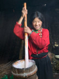 Tibetan Girl Making Butter Tea Inside the Yurt, Dingqing, Tibet, China Photographic Print by Keren Su