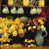 Spring Arrangement on a Dresser Ranunculus, Yellow Tulipa Baskets, China Cups & Teapot Fotografie-Druck von Lynne Brotchie