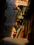Street with Hostel Sign, Teruel, Spain Photographic Print by John Banagan