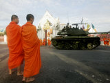 Thai Monks Watch as Soldiers Guard an Area Near Crucial Government Buildings Bangkok, Thailand Photographic Print