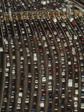Cars Queue up at a Tollbooth on the Bay Bridge in Oakland, California, During Rush Hour Photographic Print by James A. Sugar