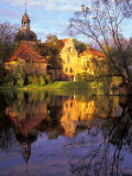 Sunset Rays on Straupe Castle and Reflection Pond, Gauja National Park, Latvia Photographic Print by Janis Miglavs