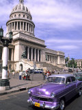 Classic 1950's Auto at Havana Capitol, Havana, Cuba Photographic Print by Bill Bachmann