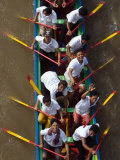 Cambodian Racers Row Their Wooden Boat Upon a Water Festival Photographic Print by Heng Sinith