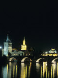 The Charles Bridge Lit up on a Soft Summer Night, Prague, Czech Republic Photographic Print by Taylor S. Kennedy