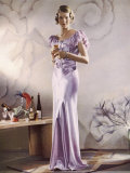 Lilac Satin Bias Cut Gown with Gathered Self-Coloured Belt Gored Skirt Photographic Print