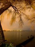 City Lights across Lake Rotorua, Rotorua, Bay of Plenty, North Island, New Zealand Photographic Print by David Wall