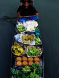 Woman Paddling Wooden Canoe Laden with Fruit for Sale at Floating Market, Damnoen Saduak, Thailand Photographic Print by Richard I&#39;Anson