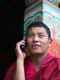Monk Using Cell Phone in Qiangbalin Temple, Chamdo, Tibet, China, Photographic Print