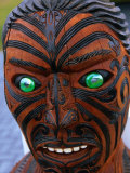 Muruika, a Modern Maori Carving with Glowing Green Eyes, Rotorua, New Zealand Photographic Print by Anders Blomqvist