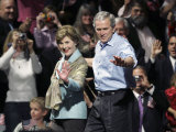 President Bush, Right, and First Lady Laura Bush Arrive for a Rally for Texas Governor Rick Perry Photographic Print by Lm Otero