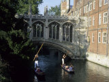 Tourists Pole Boats Called Punts Under the Bridge of Sighs on the Cam, Cambridge, England Valokuvavedos tekijn Taylor S. Kennedy