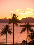Sunset over Moorea, near Papeete, Tahiti Nui, Society Islands, French Polynesia, South Pacific Photographic Print by Stuart Westmoreland