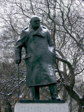 Snow is Seen on a Statue of the Late British Prime Minister Sir Winston Churchill Photographic Print by Matt Dunham