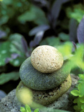 Stones Used as Natural Garden Sculpture Fotografie-Druck von Lynn Keddie