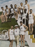 American Contestants Pose and Smile at the Side of the Swimming Pool Photographic Print