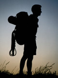 Male Hiker, Silhouetted, Melbourne, Australia Photographic Print by Michael Coyne