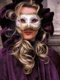 Masked Woman, Venice Carnival, Italy Photographic Print by Kristin Piljay