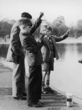 Boys in Their School Uniform Inspect Their Jam Jar Full of Little Fish Photographic Print