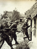 Three German Soldiers Search a Russian Peasant Home Photographic Print