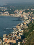 Morning View of Giardini-Naxos Resort, Taormina, Sicily, Italy Photographic Print by Walter Bibikow