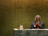 United Nations Secretary General Kofi Annan Listens to Statements Made by Members Photographic Print by Julie Jacobson