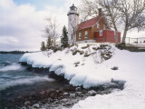 Winter Morning Light on Eagle Harbour Lighthouse on Lake Superior, Michigan, USA Photographic Print by Willard Clay