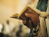 Man Holding a Prayer Book and Tefillin During a Synagogue Service, Israel Photographic Print by Ted Spiegel