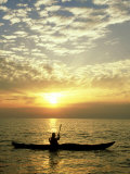 Sea Kayaker at Sunset, Greece Photographic Print by Paul Franklin