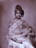 Portrait of a Woman in the Harem of the Royal Palace of Jaipur, India Photographic Print